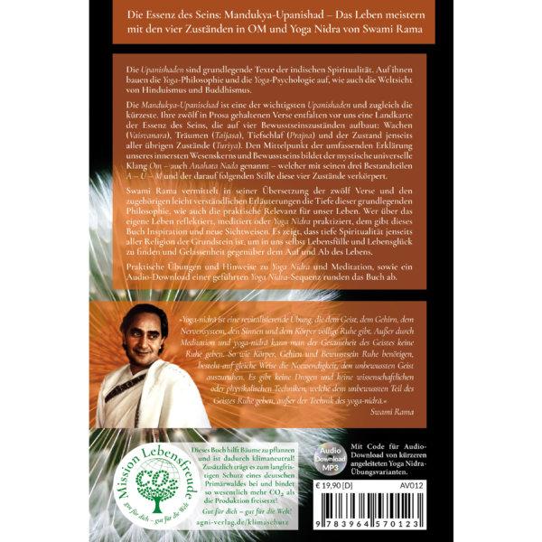 AV012 Die Essenz des Seins - Mandukya-Upanishad (Swami Rama) - Yoga Nidra - Agni Verlag - Rückcover