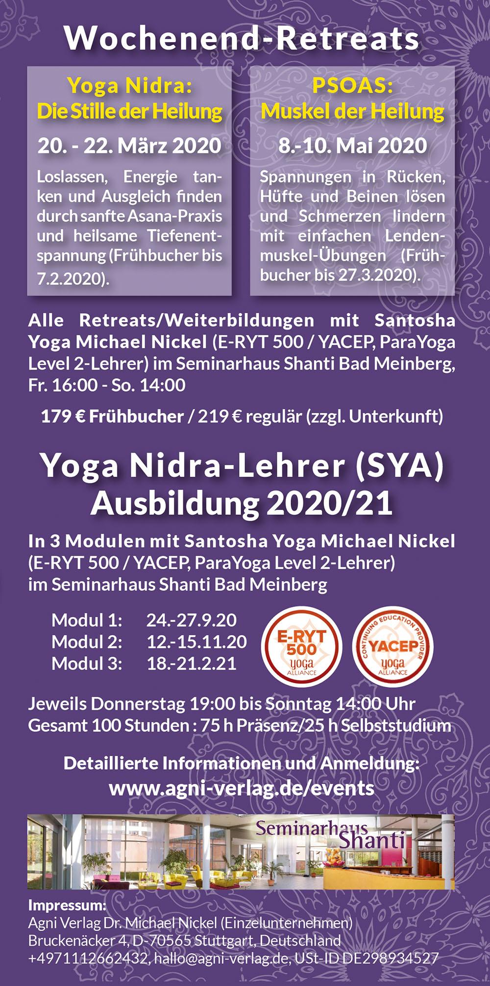 Agni Verlag Events Wochenend Retreat Yoga Nidra Lehrer Ausbildung 2020