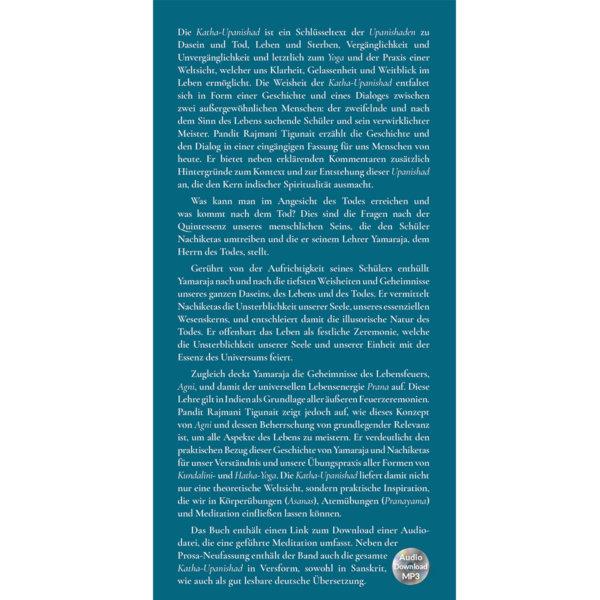 Klappe vorn: Von der Kunst, Leben und Tod zu begegnen: Katha-Upanishad: Yoga für Klarheit, Gelassenheit und Weitblick (mit Audio-Download) - Pandit Rajmani Tigunai - Agni Verlag
