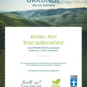 CO2-Zertifikat Buch Kraft von Mantra und Yantra - Primaklima
