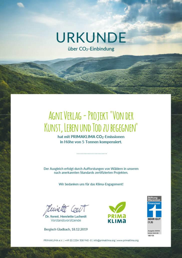 CO2-Zertifikat Buch Von der Kunst Leben und Tod zu begegnen- Primaklima