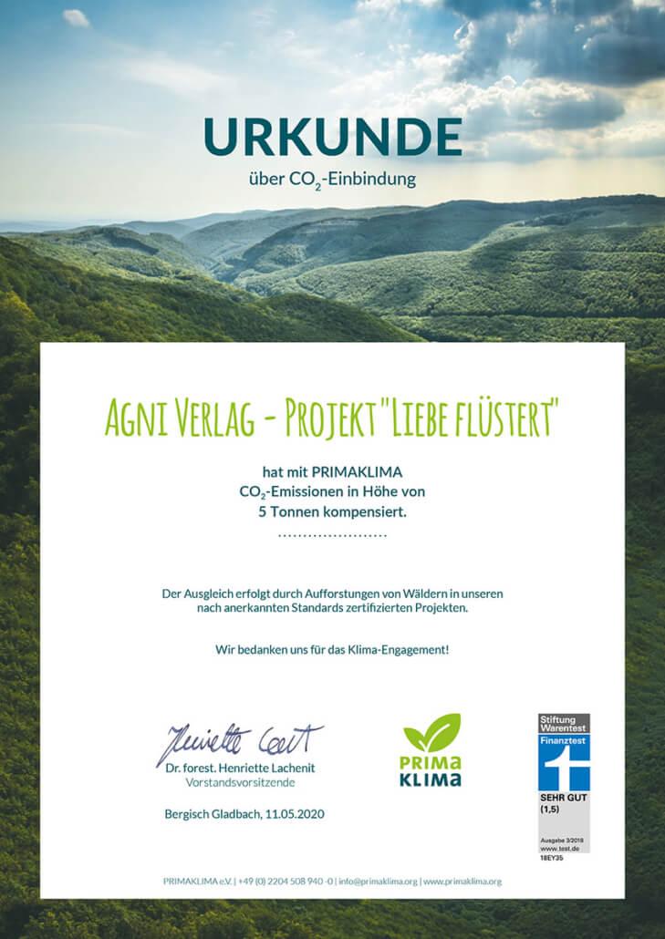CO2-Zertifikat Buch Liebe flüstert - Primaklima