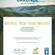 CO2-Zertifikat Buch Vishoka-Meditation - Primaklima