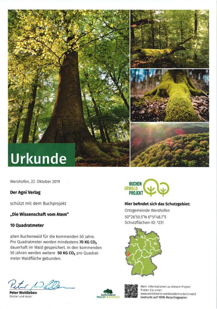 Urkunde Die Wissenschaft vom Atem - Patenschaft Waldakademie