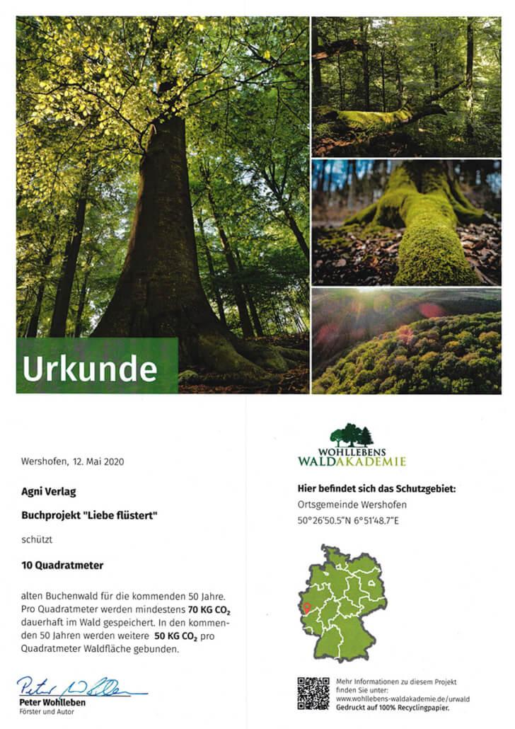 Urkunde Liebe flüstert - Patenschaft Waldakademie