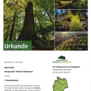Urkunde Vishoka-Meditation - Patenschaft Waldakademie